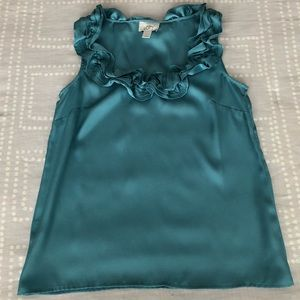 Adorable Teal LOFT Ruffled Scoopneck Top - Sz S